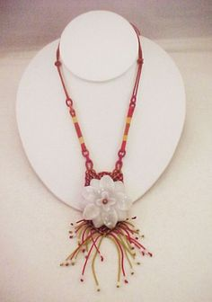 Vtg Chinese Carved White Jadeite Flower Pendant Dangle Woven Silk Cord Necklace #Unknown