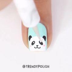 Panda nails by @trendypolish