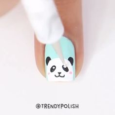 Panda nails by @trendypolish