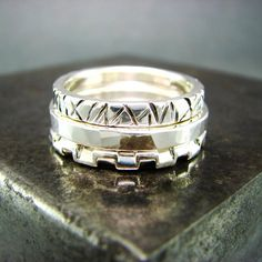 NESTOR Hand Forged Wedding Ring Hammered Silver by UngarMetalArt