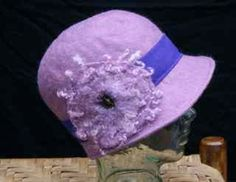 handfelted lavender cloche hat-made by my aunt from sheep to finished product.