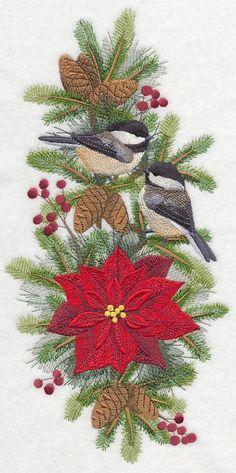 Chickadee Christmas design (K2491) from www.Emblibrary.com