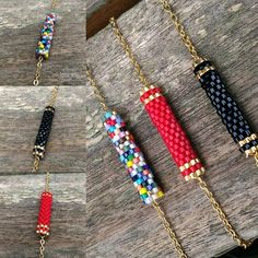 Bead crochet necklace with geometric pattern - Beaded rope necklace - Handmade jewelry - Beadwork - emerald, turquoise, black and silver - Custom Jewelry Ideas Loom Bracelet Patterns, Bead Loom Bracelets, Dainty Bracelets, Gold Plated Bracelets, Colorful Bracelets, Handmade Bracelets, Handmade Jewelry, Handmade Beads, Jewelry Bracelets