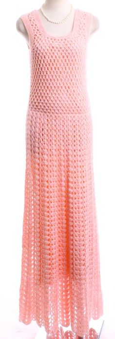 Vintage 1970's Hand Crocheted Maxi Dress matching by LondonCouture, $59.00