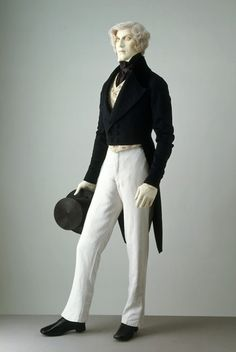 Dress coat and linen trousers, late 1840s - early 1850s.