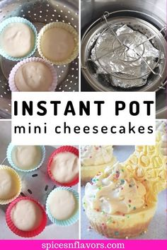 Instant Pot Cheesecake in Jars with Strawberry topping - Spices N Flavors Mason Jar Cheesecake, Simple Cheesecake, How To Make Cheesecake, Easy Cheesecake Recipes, Vegan Dessert Recipes, Fruit Recipes, No Bake Desserts, Baking Recipes, Individual Cheesecakes