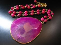 Pink Agate Pendant Necklace Large Pink Agate by PumpkinBeads