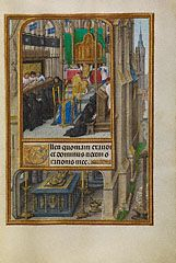 Office of the Dead (Getty Museum)Master of James IV of Scotland  Flemish, Ghent or Mechelen, about 1510 - 1520  Tempera colors, gold, and ink on parchment  9 1/8 x 6 9/16 in.  MS. LUDWIG IX 18, FOL. 185