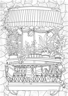 Balcony - Printable Adult Coloring Page from Favoreads (Coloring book pages for adults and kids, Coloring sheets, Colouring designs) Printable Adult Coloring Pages, Free Coloring Pages, Coloring Sheets, Coloring Books, House Colouring Pages, Coloring Pages Inspirational, Sketches, Illustration, Recycled Books