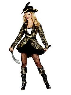 Adult Sexy Golden Treasure Pirate Costume   Cheap Pirate Halloween Costume for Sexy Women   *Jacket Style*
