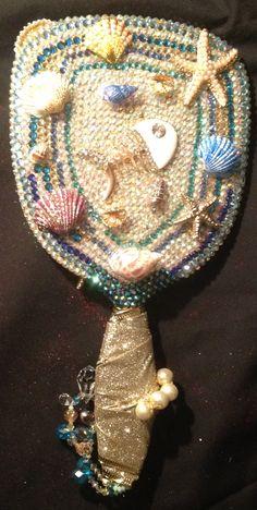 Seashells & Starfish Handheld Mirror Also Find Designs by L. White on Facebook, Tumblr, Ebay, Twitter