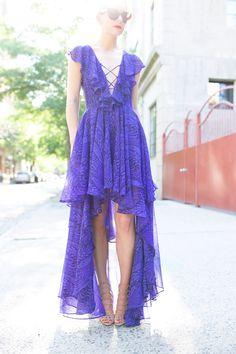 Atlantic-Pacific || fly away. Purple maxi summer dress, Prada sunnies, heels.