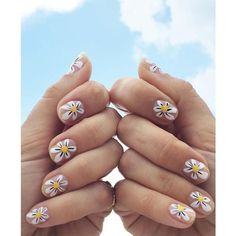 DIY Daisy Nail Art by Jessica Washick ❤ liked on Polyvore featuring beauty products, nail care, nail treatments and nails