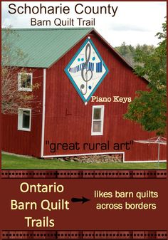 "Piano Keys, another great barn quilt from the Schoharie County Barn Quilt Trail. The Ontario Barn Quilt Trails supports other trails in North America show casing ""great rural art."""