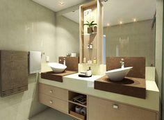 Banheiro Casal. #espelho #revestimento #silestone #decoração #arquitetura #banheiro #deca #nicho