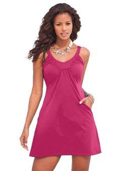 Fashion Bug Womens Plus Size 2-Pocket Swimdress. www.fashionbug.us #curvy #plussize #FashionBug