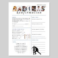 Konfirmationsquiz med billeder i bogstaverne - dreng Quiz, New Job, Andreas, Crafts, Inspiration, Corner, Random, Creative, Tips