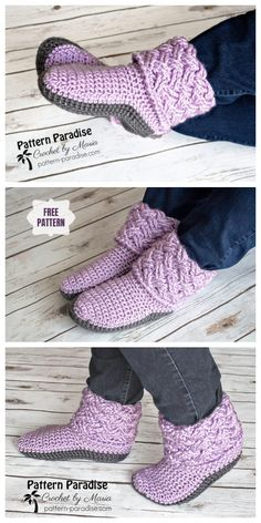 Crochet Celtic Weave Slippers Free Crochet Pattern - Stricken ist so einfach wie. Crochet Celtic Weave Slippers Free Crochet Pattern - knitting is as easy as 3 Knitting boils down to three ess Crochet Afghans, Afghan Crochet Patterns, Knit Or Crochet, Crochet Crafts, Crochet Baby, Knitting Patterns, Free Crochet Slipper Patterns, Diy Crafts, Easy Crochet Slippers