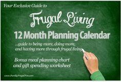 2013 Frugal Living 12 Month Planning Calendar
