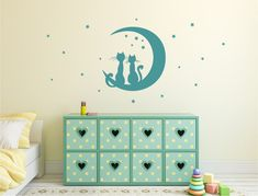 Cats Stars and Moon Wall Sticker (Buy 2 Get FREE mix and match) Wall Stickers Cats, Nursery Wall Stickers, Childrens Wall Stickers, Wall Decals, Playroom Wall Decor, Nursery Decor, Wall Sticker Design, Star Nursery, Cat Wall