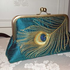 Peacock Feather Embroidered Silk Clutch/Purse Teal w/ Golden lining w Antique Gold Frame Peacock Purse, Peacock Colors, Peacock Feathers, Clutch Purse, Coin Purse, Crossbody Bag, Free Monogram, Look Boho, Looks Vintage
