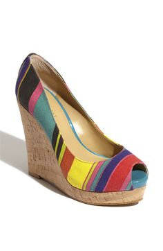 Nine West 'Linger' Wedge | Nordstrom  Vibrant stripes pattern a peep-toe pump supported by a towering cork-wrapped wedge.
