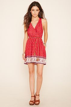 Paisley Belted Surplice Dress | Forever 21 - 2000203908