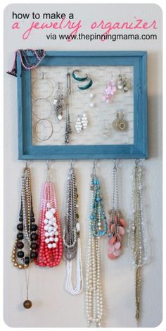 37 DIY IDeas for Decorating Your Teenage Girl's Bedroom - How to Make a Jewelry Organizer