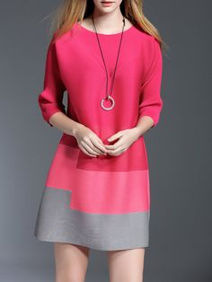 #AdoreWe StyleWe Mini Dresses - KK2 Red A-line 3/4 Sleeve Ribbed Crew Neck Mini Dress - AdoreWe.com