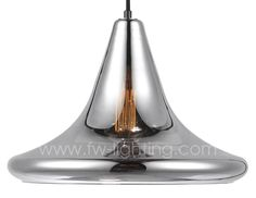 Ineslam chrome plated glass pendant light in trumpet design and black lamp holder MD3051-TCH