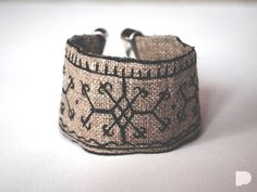 Slavic symbols linen bracelet