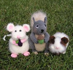 MOUSE, SQUIRREL & GUINEA Pig Fuzzy Friends  Pdf Crochet Patterns