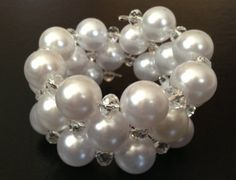 Your place to buy and sell all things handmade Pearl Beads, Pearl Earrings, Memory Wire Bracelets, Wedding Bracelet, Clear Crystal, Crystals, Simple, Beautiful, Etsy