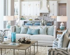 Beautiful & Chic Coastal Living Room... with a cozy shag rug....http://www.completely-coastal.com/2017/02/coastal-living-room-aqua-white-gray.html
