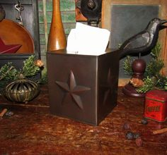Primitive AGED COPPER STAR TISSUE BOX COVER Metal Holder Kleenex Country Barn #NaivePrimitive