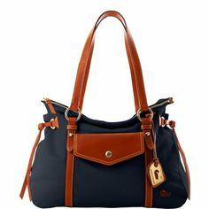 Dooney & Bourke Nylon Smith Bag - Navy w/ Brown Trim