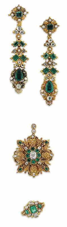 AN EARLY 19TH CENTURY EMERALD AND DIAMOND DEMI-PARURE  Comprising ear pendants, pendant and ring, each set with square-cut emerald and old-cut diamond collet-set accents among a scrolling wirework and granulated gold ground, the ear pendants with pear shaped emerald terminals and half pearl detail, the pendant with glazed locket compartment to the reverse containing woven hair, circa 1830, ear pendants 7.5cm long, pendant 4.5cm long