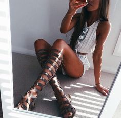 sunglasses + white striped two piece + gladiator sandals