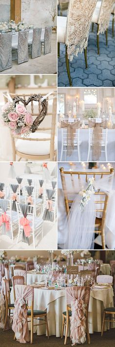 Gone are the days of plain white chair covers with colored sashes, you can now choose silk, satin, pearls, burlap, the choice is endless. Take a look at some stunning ways to decorate your chairs and really embrace your wedding style
