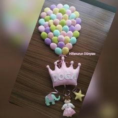 Keçe prenses taçlı balonlu kapı süsü/Doğa Bebek