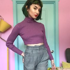 b2294ce20b George women's small ribbed turtleneck in a lovely mauve and - Depop Mauve  Color, Ribbed