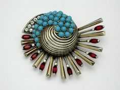 BOUCHER Sterling Vermeil Phrygian Cap  Rhinestone Turquoise Fan Fur Clip 1946 #Boucher
