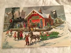 Beautiful colors, very nice card. Christmas Horses, Vintage Christmas Cards, Train Station, Artist, Gifts, Painting, Beautiful, People, Ebay
