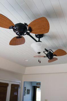 nice Ceiling Fan, installing wooden ceiling.  Twin Breeze by Allen+Roth. (Item #0275436). $179.