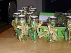 gold and green little glasses souvenirs