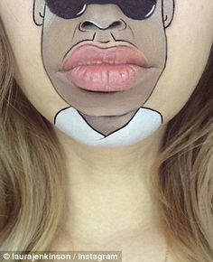 Laura uses her chin as a canvas as she creates amazing images of celebrities and cartoon characters using her mouth, teeth and lips, like Jay Z Lips Cartoon, Cartoon Art, Cartoon Characters, Mouth Painting, Painting Art, Theatrical Makeup, 99 Problems, Lip Art, Stunts