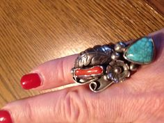 Signed PP...Sterling Silver Vintage Navajo Coral & Turquoise Ring