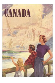 Vintage poster of a Canadian family from AllPosters.com.  Just 25 bucks!      #CDNGetaway