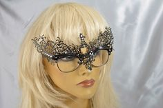 Budget Venetian Masquerade Masks that attach to Glasses Frames - Ricciolina Glass