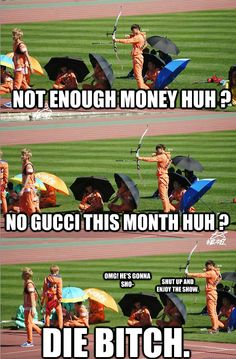 He wants his Gucci.. I wonder why he didn't just wushu him or something.. No he had to shoot him with an arrow